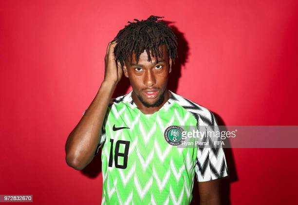Alex Iwobi of Nigeria poses during the official FIFA World Cup 2018 portrait session on June 12 2018 in Yessentuki Russia