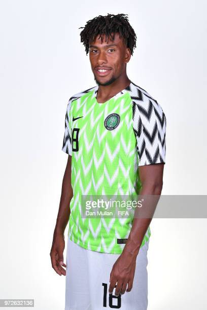 Alex Iwobi of Nigeria poses for a portrait during the official FIFA World Cup 2018 portrait session on June 12 2018 in Yessentuki Russia