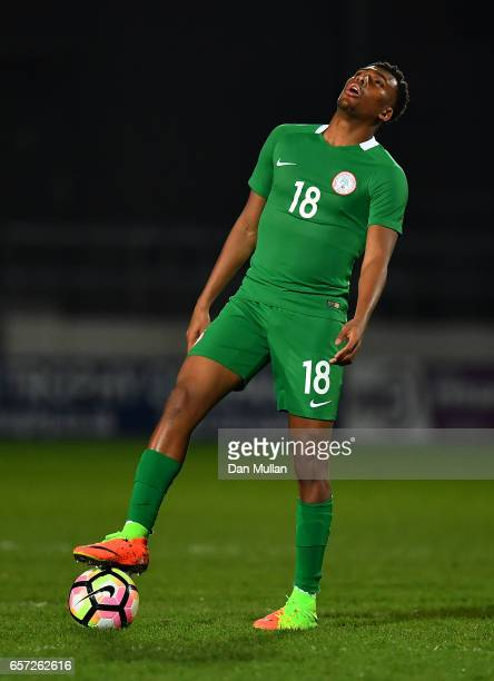 Alex Iwobi of Nigeria reacts during the International Friendly match between Nigeria and Senegal at The Hive on March 23 2017 in Barnet England