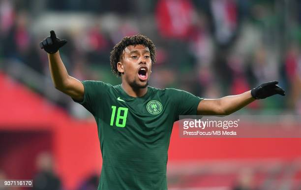 Alex Iwobi of Nigeria reacts during the international friendly match between Poland and Nigeria at the Municipal Stadium on March 23 2018 in Wroclaw...