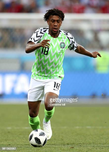 Alex Iwobi of Nigeria runs with the ball during the 2018 FIFA World Cup Russia group D match between Nigeria and Iceland at Volgograd Arena on June...