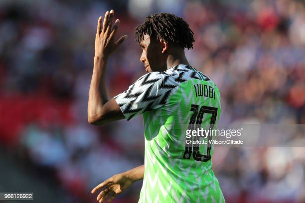 Alex Iwobi of Nigeria shields his eyes from the sun during the International Friendly between England and Nigeria at Wembley Stadium on June 2 2018...