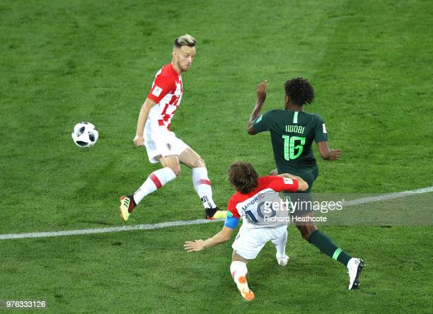 Alex Iwobi of Nigeria tackles Luka Modric of Croatia during the 2018 FIFA World Cup Russia group D match between Croatia and Nigeria at Kaliningrad...