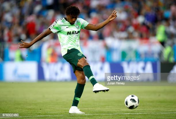 Alex Iwobi of Nigeria warms up prior to the 2018 FIFA World Cup Russia group D match between Croatia and Nigeria at Kaliningrad Stadium on June 16...