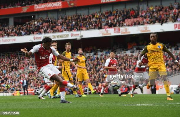 Alex Iwobi scores Arsenal's second goal during the Premier League match between Arsenal and Brighton and Hove Albion at Emirates Stadium on October 1...