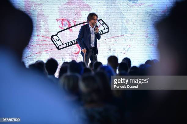 Alex Jaffray speaks on stage during the Chatons d'Or 2018 award ceremony on June 5 2018 in Paris France