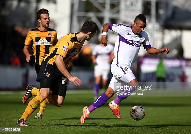 Alex Jakubiak of Oxford attacks during the Sky Bet League Two match between Cambridge United and Oxford United at The Abbey Stadium on October 11...