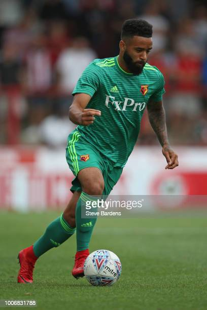 Alex Jakubiak of Watford in action during the preseason match between Brentford and Watford at Griffin Park on July 28 2018 in Brentford England