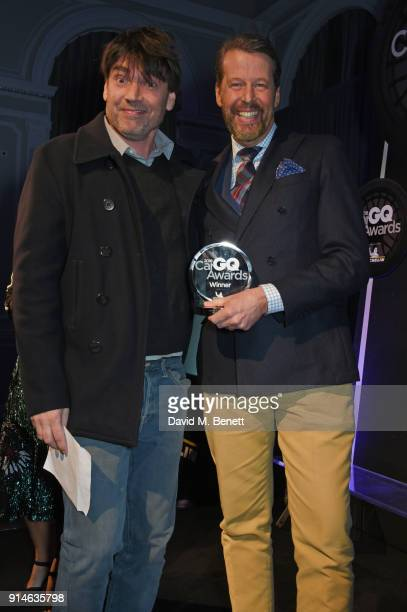Alex James and Stefan Sielaff attend the GQ Car Awards 2018 in association with Michelin at Corinthia London on February 5 2018 in London England
