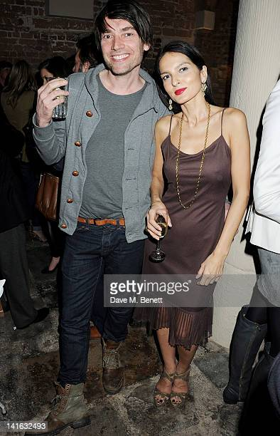 Alex James and Yasmin Mills attend a private dinner celebrating 'Alex James Presents' line of cheeses at Aubaine Dover Street on March 20 2012 in...