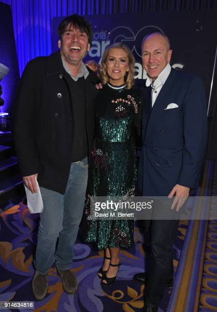 Alex James Nicki Shields and Dylan Jones attend the GQ Car Awards 2018 in association with Michelin at Corinthia London on February 5 2018 in London...
