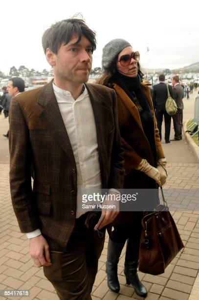 Alex James of Blur and wife Claire Neate James attend Gold Cup day at the Cheltenham Festival on March 13 2009 in Cheltenham England