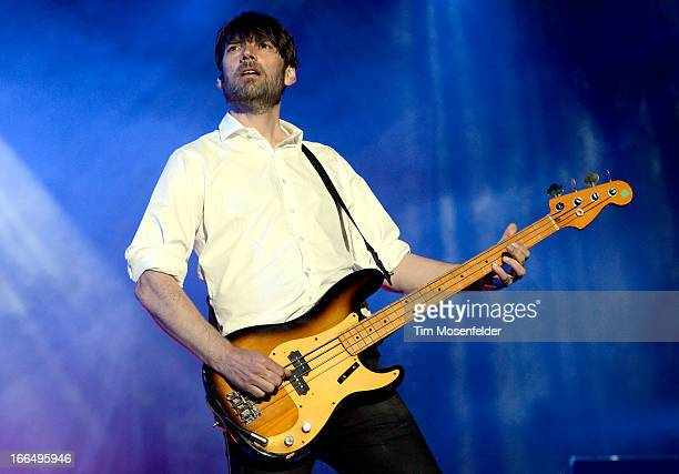 Alex James of Blur performs as part of the 2013 Coachella Valley Music Arts Festival at the Empire Polo Field on April 12 2013 in Indio California