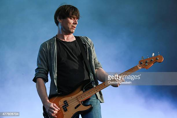 Alex James of Blur performs on stage on day two of British Summer Time 2015 at Hyde Park on June 20 2015 in London United Kingdom