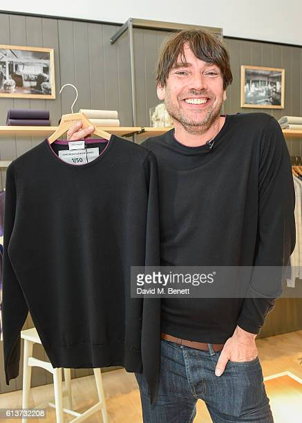 Alex James poses for a picture as Alex James John Smedley announce the launch of Wool Week 2016 alongside The Campaign for Wool on October 10 2016 in...