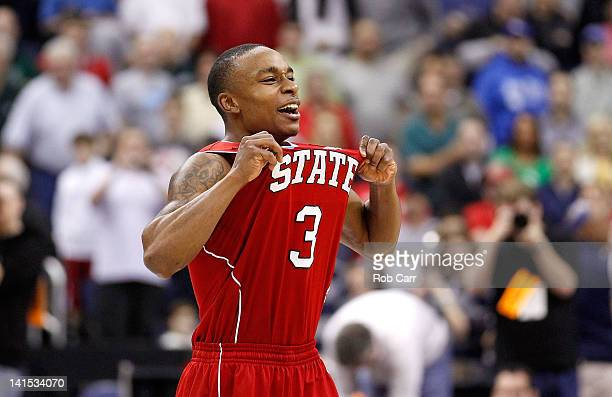 Alex Johnson of the North Carolina State Wolfpack celebrates after defeating the Georgetown Hoyas during the third round of the 2012 NCAA Men's...