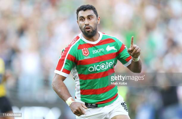Alex Johnston of the Rabbitohs celebrates scoring a try during the round 6 NRL match between the CanterburyBankstown Bulldogs and the South Sydney...