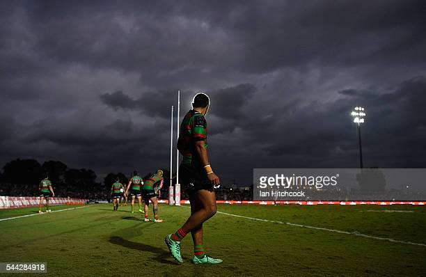 Alex Johnston of the Rabbitohs looks on during the round 17 NRL match between the South Sydney Rabbitohs and the North Queensland Cowboys at Barlow...