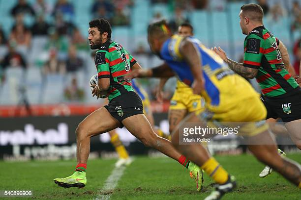 Alex Johnston of the Rabbitohs makes a break during the round 15 NRL match between the South Sydney Rabbitohs and the Parramatta Eels at ANZ Stadium...