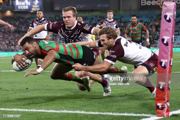 Alex Johnston of the Rabbitohs scores a try during the NRL Semi Final match between the South Sydney Rabbitohs and the Manly Sea Eagles at ANZ...