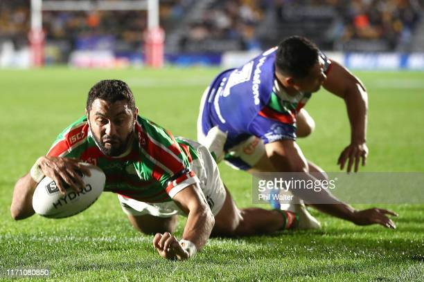 Alex Johnston of the Rabbitohs scores a try during the round 24 NRL match between the New Zealand Warriors and the South Sydney Rabbitohs at Mt Smart...