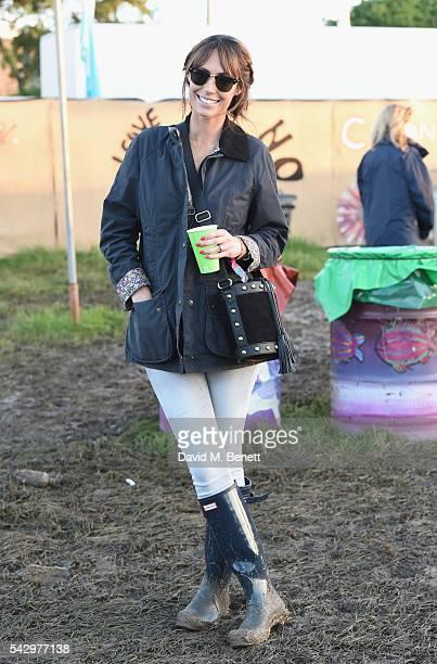 Alex Jones attends day 1 of Glastonbury Festival on June 24 2016 in Glastonbury England