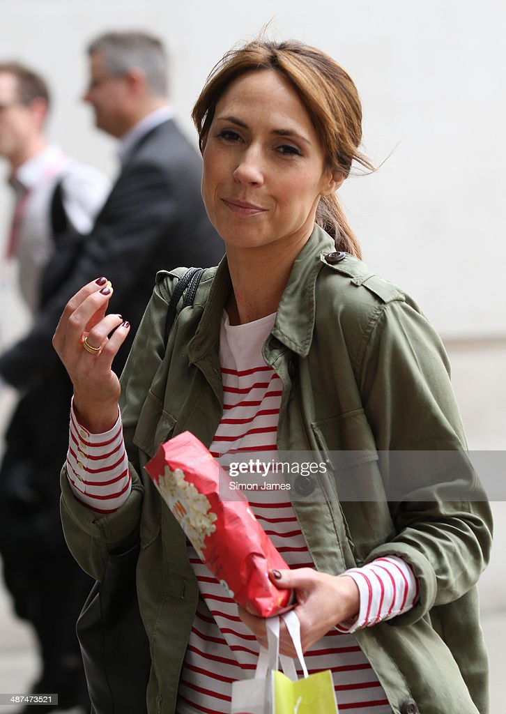 Alex Jones is sighted eating popcorn on April 30, 2014 in London, England.