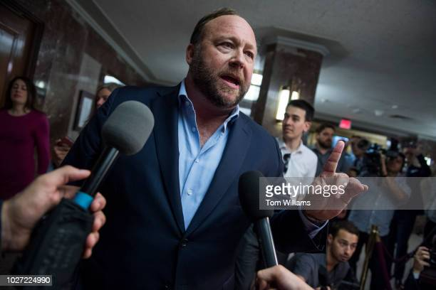Alex Jones of Infowars conducts a news conference outside a Senate Intelligence Committee hearing in Dirksen Building where Sheryl Sandberg Facebook...