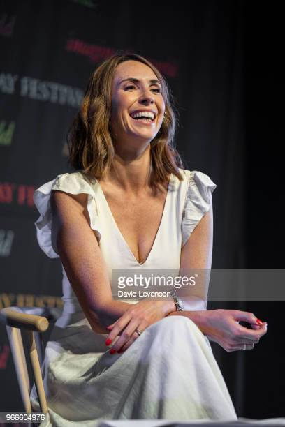 Alex Jones presenter of the BBC programme The One Show at the Hay Festival on June 3 2018 in HayonWye Wales