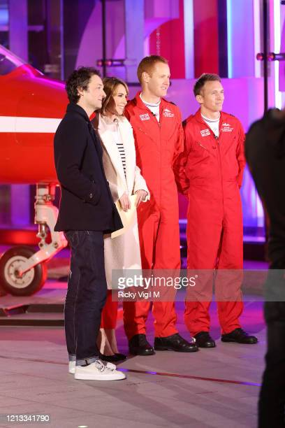 Alex Jones seen filming BBC The One Show outside the studios with the Red Arrows on March 18 2020 in London England