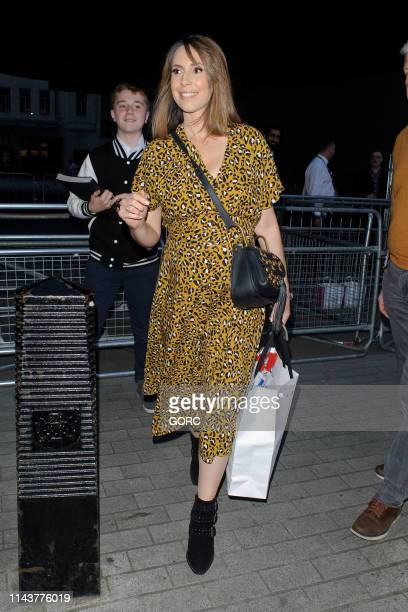 Alex Jones seen leaving the BBC TV studios on April 19 2019 in London England