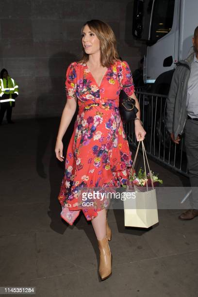 Alex Jones seen leaving the BBC TV studios on April 26 2019 in London England