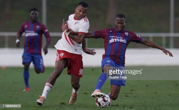 Alex Kakuba of CD Cova da Piedade with Wilson of UD Vilafranquense in action during the Liga Pro match between CD Cova da Piedade and UD...
