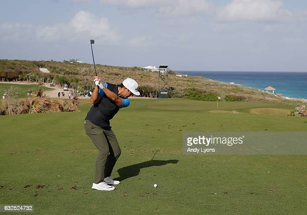 Alex Kang hits his tee shot on the 17th hole during the second round of The Bahamas Great Abaco Classic at the Abaco Club on January 23 2017 in Great...