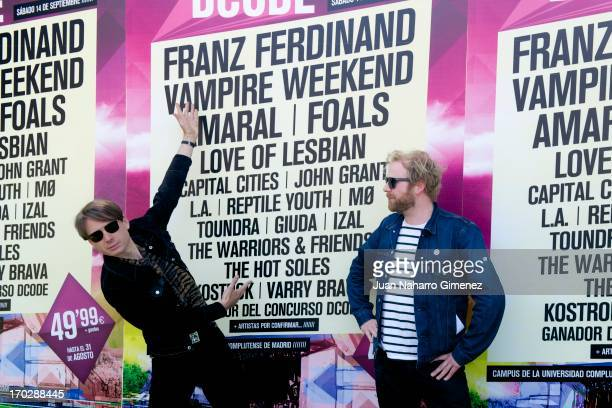 Alex Kapranos and Bob Hardy of Franz Ferdinand attend the presentation of DCODE 2013 Festival at Ciudad Universitaria on June 10 2013 in Madrid Spain