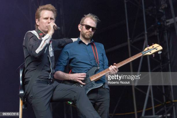 Alex Kapranos and Bob Hardy of Franz Ferdinand perfor on stage during TRNSMT Festival Day 5 at Glasgow Green on July 8 2018 in Glasgow Scotland