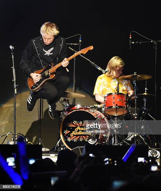 Alex Kapranos and Paul Thomson of Franz Ferdinand perform onstage during KROQ Almost Acoustic Christmas 2017 at The Forum on December 10 2017 in...