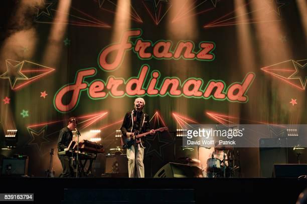 Alex Kapranos from Franz Ferdinand performs at Domaine National de SaintCloud on August 25 2017 in Paris France