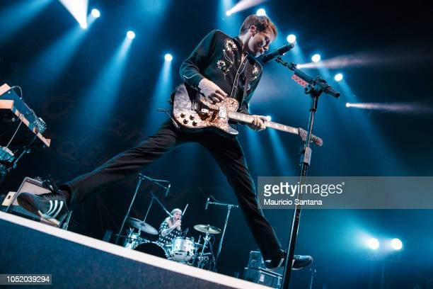 Alex Kapranos member of the band Franz Ferdinand performs live on stage at Tom Brasil on October 12 2018 in Sao Paulo Brazil