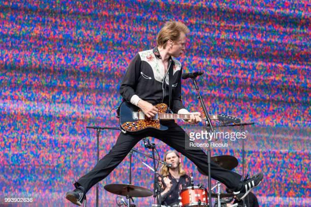 Alex Kapranos of Franz Ferdinand jumps on stage during TRNSMT Festival Day 5 at Glasgow Green on July 8 2018 in Glasgow Scotland