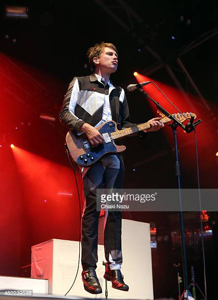 Alex Kapranos of Franz Ferdinand performs as part of The Summer Series at Somerset House on July 16 2014 in London England