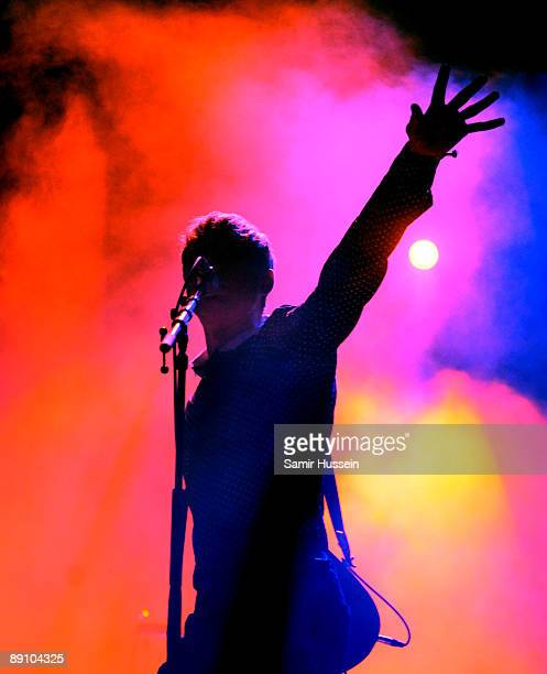 Alex Kapranos of Franz Ferdinand performs as the band headline the main stage on day 3 of the International Festival of Benicassim on July 18 2009 in...