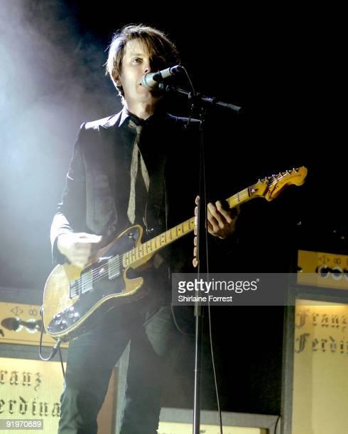 Alex Kapranos of Franz Ferdinand performs at Manchester Apollo on October 17 2009 in Manchester England