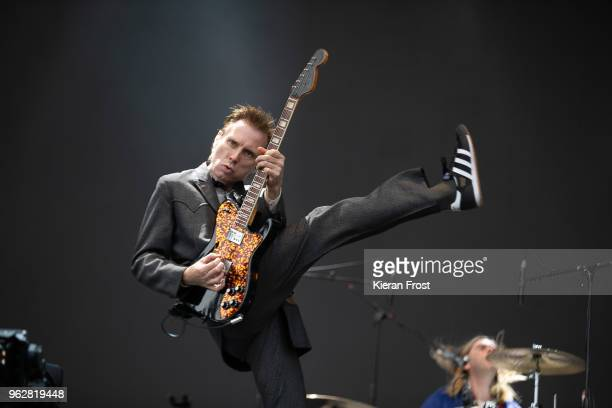 Alex Kapranos of Franz Ferdinand performs at the BBC 6Music Biggest Weekend at Titanic Slipways on May 26 2018 in Belfast Northern Ireland