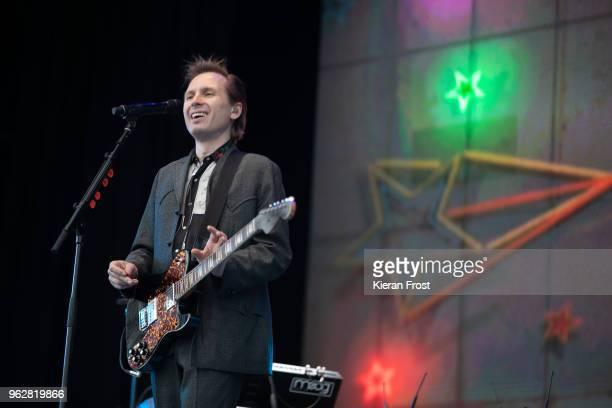 Alex Kapranos of Franz Ferdinand performs at the BBC 6Music Biggest Weekend at Titanic Slipways on May 26 2018 in Belfast Northern Ireland