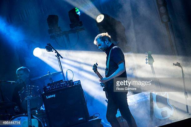 Alex Kapranos of Franz Ferdinand performs at the Save the Children's Child Refugee Crisis Appeal charity concert at the Clyde Auditorium at Clyde...
