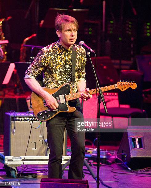Alex Kapranos of Franz Ferdinand performs on stage as part of Beck's experimental Song Reader Live at Barbican Centre on July 4 2013 in London England