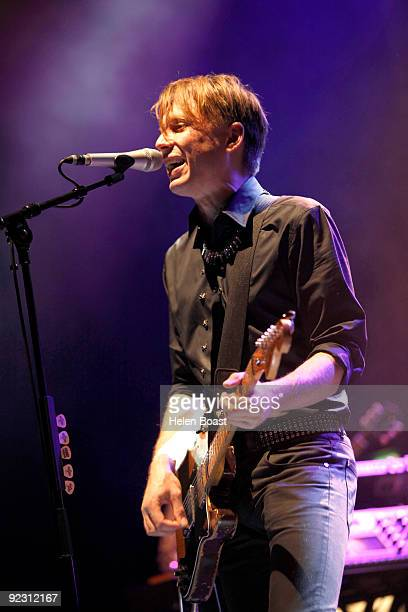 Alex Kapranos of Franz Ferdinand performs on stage at Brixton Academy on October 23 2009 in London England