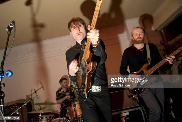 Alex Kapranos of Franz Ferdinand performs on stage at the Mono 10th Birthday Bash at Mono on November 16 2012 in Glasgow United Kingdom
