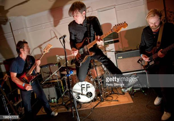 Alex Kapranos of Franz Ferdinand performs on stage at the Mono 10th Birthday Bash at Mono on November 16 2012 in Glasgow United Kingdom
